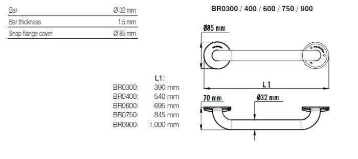 Bara simpla fixa otel alb 70 cm BR0600-big