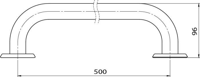 Bara simpla fixa otel alb 50 cm R6650.11 -big