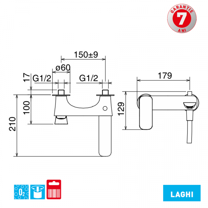 Baterie pentru cada cu montaj pe perete 44020/1.0 Laghi Ferro