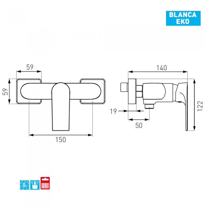Baterie dus perete BCB77 Blanca Eko Ferro