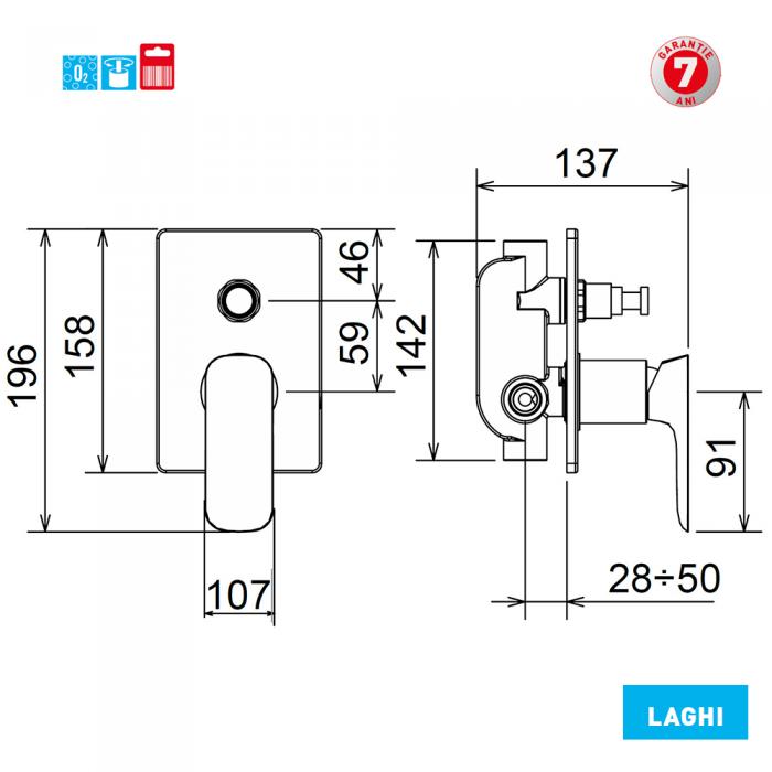 Baterie ingropata pentru cada si dus 44050R.0 Laghi Ferro