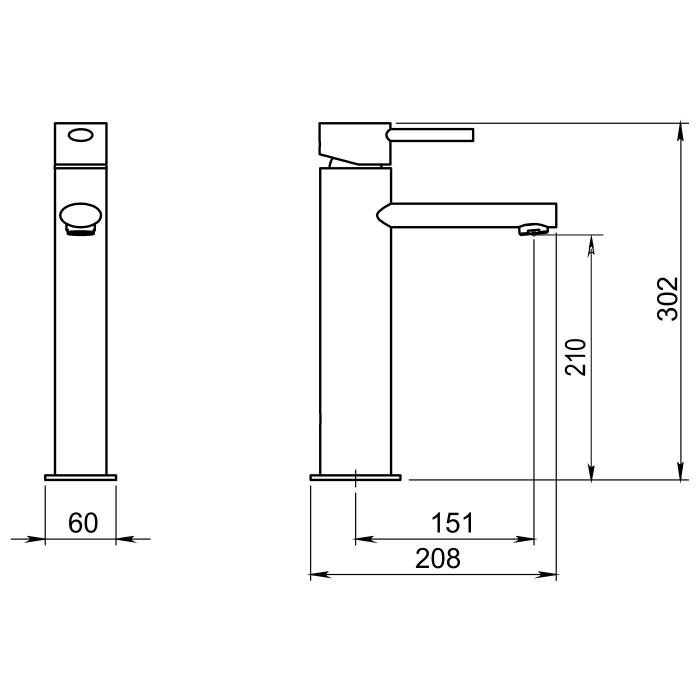 Baterie lavoar inalta Oval Ferro