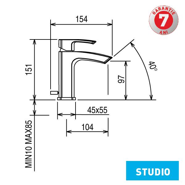 Baterie lavoar cu ventil Studio 31001.0 Ferro