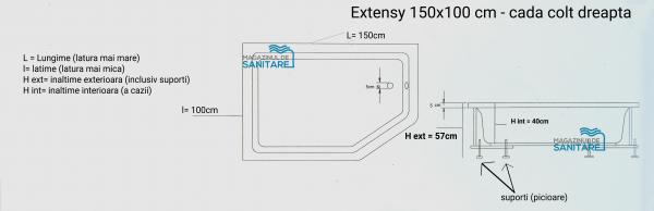 Cada 150x100 cm Extensy cu suprafata anti-alunecare-big