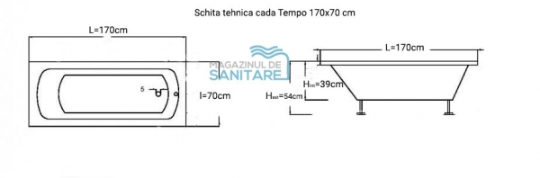 cada baie colt 170x70 cm tempo