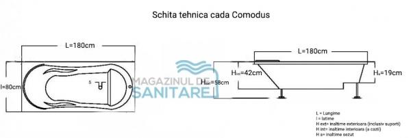 Cada 180x80 cm Comodus cu suprafata anti-alunecare-big