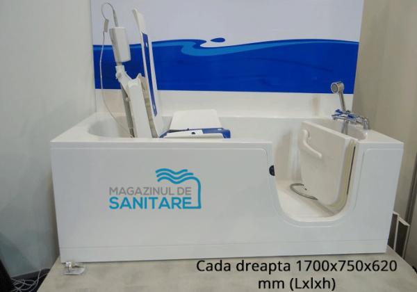 cada baie handicap dizabilitati stanga 170 75 62 cm