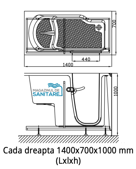 cada baie handicap dizabilitati dreapta 140 70 100 cm
