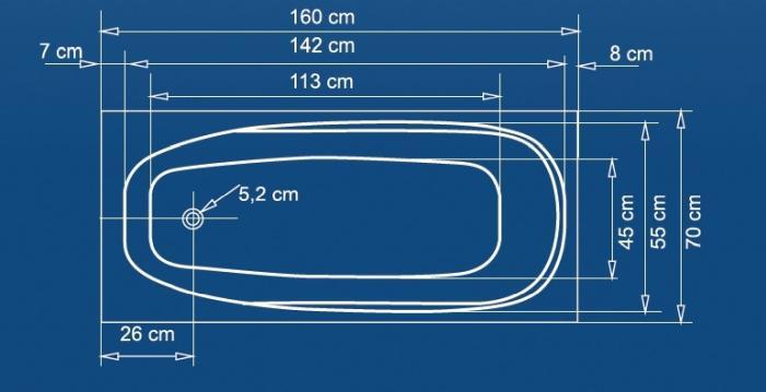 cada baie colt 150x70 cm linea