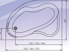 Cada colt asimetrica 150x105 cm Carina-big