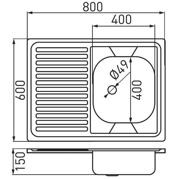 Chiuveta bucatarie inox satinat 60x80 cm DR60/80L.H-big