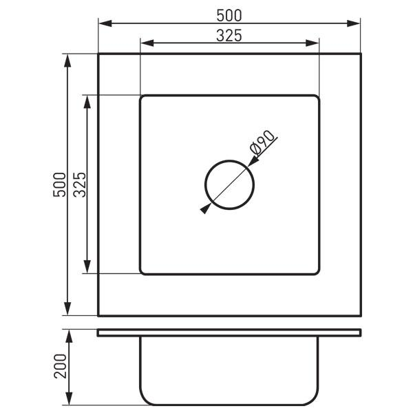 Chiuveta bucatarie granit culoare nisip   50x50 cm DRG50/50/S-big