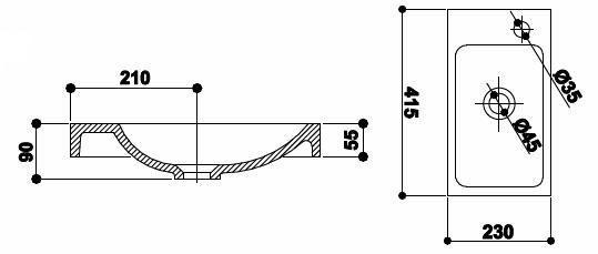 Lavoar 42x23 cm Hamac-big