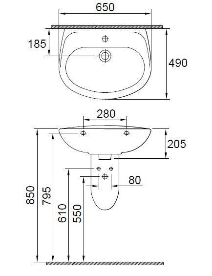 Lavoar 650 x 490 mm Wisa-big