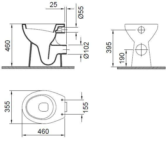 Vas WC 460 x 355 mm  inalt Wisa-big