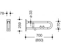 Bara rabatabila vertical sprijin lateral cu 2 butoane de actionare4