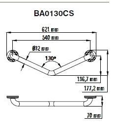 Bara 130º inox BA0130CS1