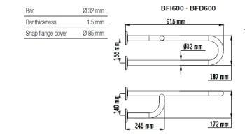 Bara dubla fixa, fixare 3 puncte, otel alb 62 cm BFD6001