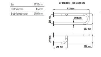 Bara dubla fixa, fixare 3 puncte, inox satinat 62 cm BFD600CS1