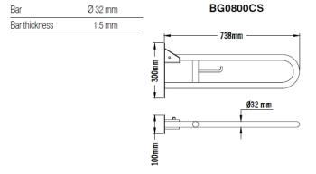 Bara dubla rabatabila, suport hartie igienica, inox 74 cm BG0800CS1