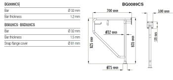 Bara 90º inox, suport hartie igienica, perete-pardoseala BG0089CS1