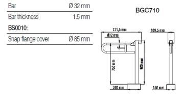 Bara 90º otel alb, suport hartie igienica, perete-pardoseala BGC7101