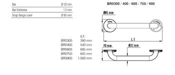 Bara simpla fixa inox satinat 100 cm BR0900CS1