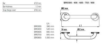 Bara simpla fixa otel alb 54 cm BR04001