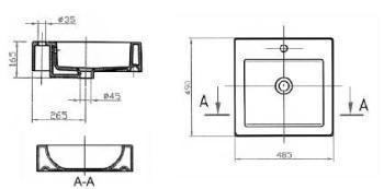 Lavoar 490 x 485 mm Barcares 1