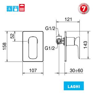 Baterie ingropata pentru cada si dus 44050R.0 Laghi Ferro1