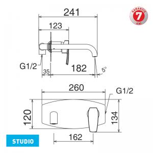Baterie lavoar cu montaj ingropat pentru spatii publice 31200.0 Studio Ferro1