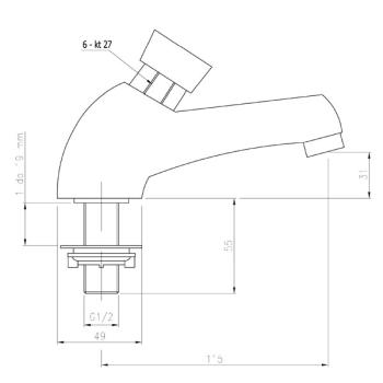 Baterie lavoar cu temporizare, apa rece/premixata Z200 Press1
