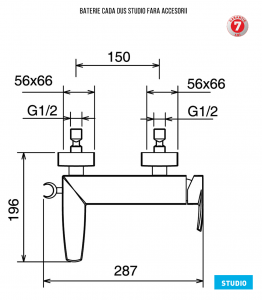 Baterie pentru cada cu montaj pe perete - fara accesorii 31020/1.0 Studio Ferro1