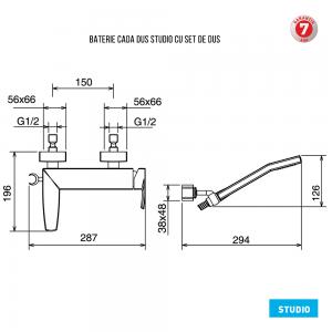 Baterie pentru cada cu montaj pe perete - fara accesorii 31020/1.0 Studio Ferro3