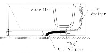 Cada baie dizabilitati PAROS dreapta 170x76x61 cm1