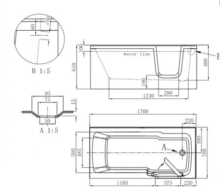 Cada baie dizabilitati PAROS dreapta 170x76x61 cm2