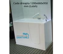Cada baie dizabilitati dreapta 120x66x95 cm0
