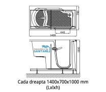 Cada baie dizabilitati dreapta 140x70x100 cm1
