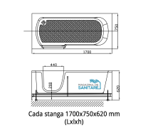 Cada baie dizabilitati stanga 170x75x62 cm1