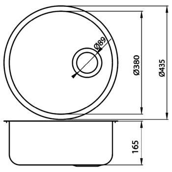 Chiuveta bucatarie rotunda inox DR43.H1