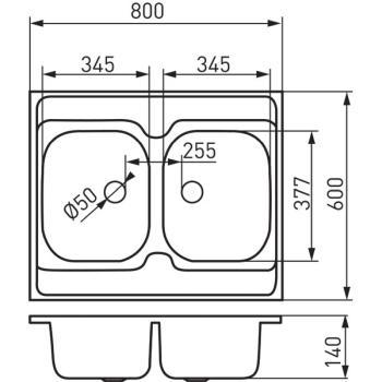Chiuveta bucatarie inox satinat 60x80 cm DR60/80D.H1