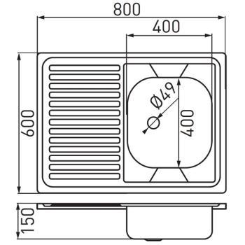 Chiuveta bucatarie inox satinat 60x80 cm DR60/80L.H1