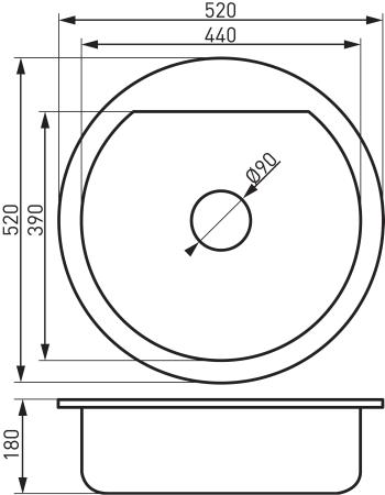 Chiuveta bucatarie granit  diam. 52 cm DRG52W1