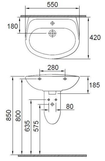 Lavoar 550 x 420 mm Wisa1
