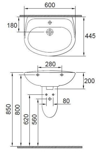 Lavoar 600 x 445 mm  Wisa1