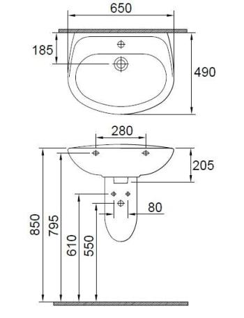 Lavoar 650 x 490 mm Wisa1