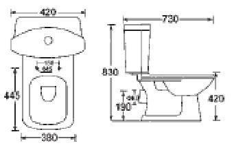 Vas WC Sanotechnik CT1505 cu evacuare laterala 73x42 cm Style1