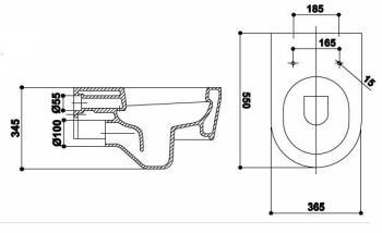 Vas WC suspendat 550 x 365 mm Quid1