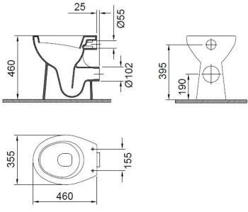 Vas WC 460 x 355 mm  inalt Wisa1