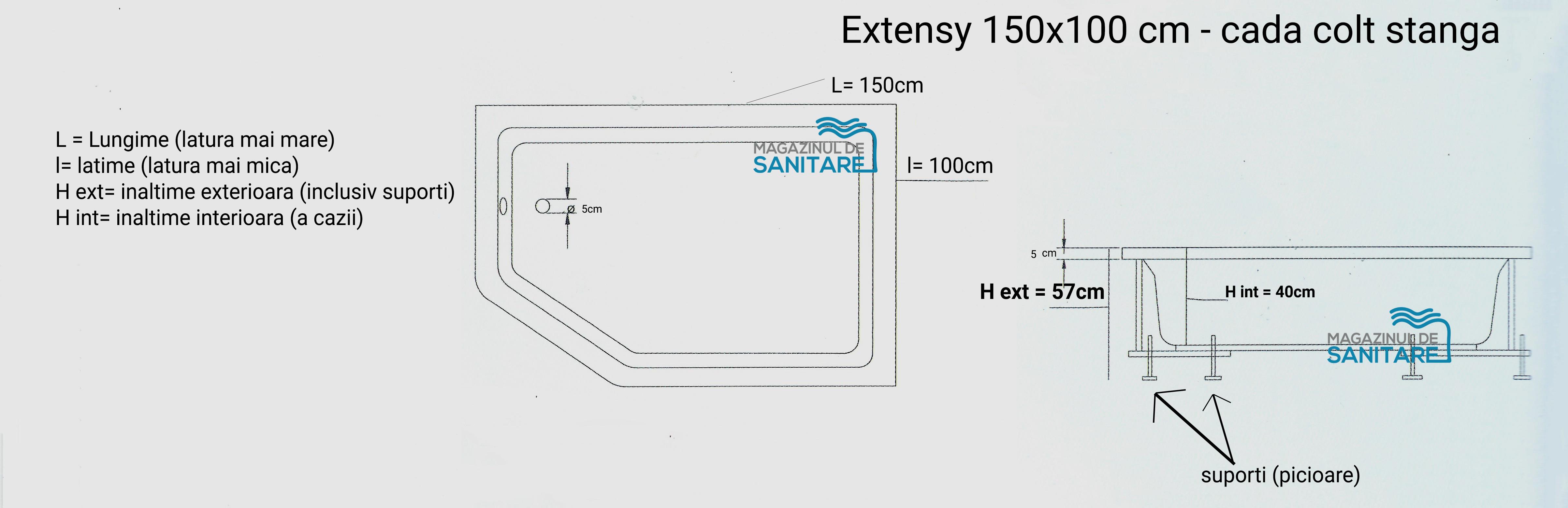 schita tehnica cada 150 100 cm EXTENSY